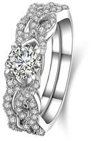 AmDxD Jewelry Plated Women Promise Customizable Rings Full CZ Pattern Size 10.5,Engraving