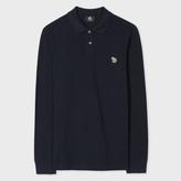 Paul Smith Men's Navy Organic-Cotton Zebra Logo Long-Sleeve Polo Shirt