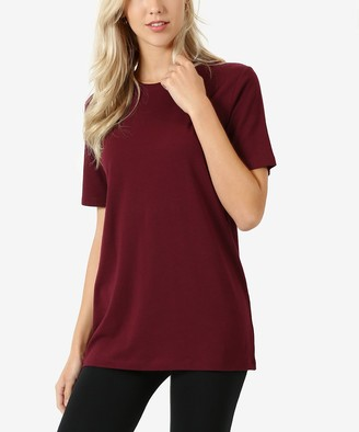 Zenana Women's Tee Shirts DK.BURGUNDY_IPB - Dark Burgundy Crewneck Tee - Women