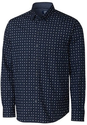 Cutter & Buck Men's Big-Tall Long Sleeve Non-Iron Fisher Print Button Down Collared Shirt