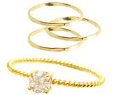Charlene K 14K Gold Plated Sterling Silver CZ 4-Piece Stackable Ring Set