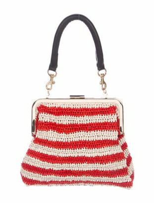 Clare Vivier Raffia Frame Bag Red