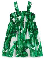 Dolce & Gabbana Banana Leaf Batiste Dress, White/Green, Size 2-6