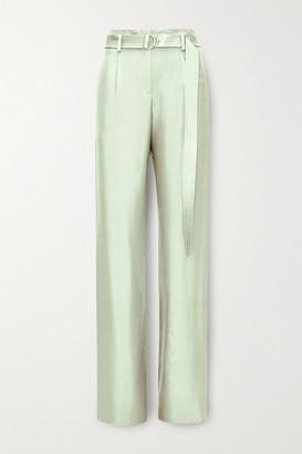 LAPOINTE - Belted Silk-twill Wide-leg Pants - Mint