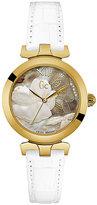 Gc Ladies' LadyBelle White Leather Strap Watch