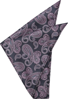 yd. Charcoal/Pink Moore Pocket Square
