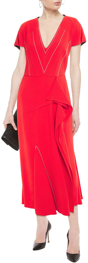 Thumbnail for your product : Roland Mouret Bates Embroidered Stretch-crepe Midi Dress
