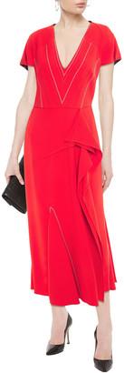 Roland Mouret Bates Embroidered Stretch-crepe Midi Dress