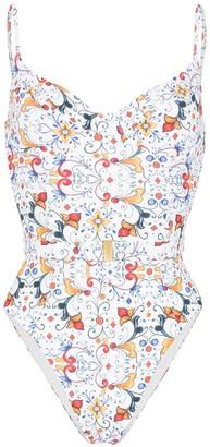 Onia Danielle Majolica tile-print swimsuit