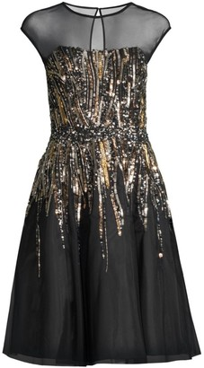 Aidan Mattox Sequined Tea Length Cocktail Dress