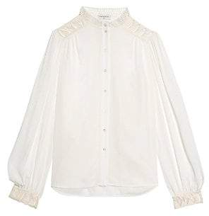 Sandro Women's Galoni Lace-Trim Shirt
