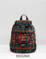 Reclaimed Vintage Tapestry Mini Backpack in Black