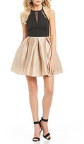 Teeze Me High-Neck Color Block Fit and Flare Dress