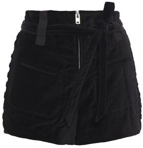 IRO Spell Belted Lace-up Cotton-velvet Shorts