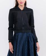 Lucy Paris Black Lace-Accent Bomber Jacket