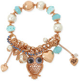 Betsey Johnson Rose Gold-Tone Owl Stretch Charm Bracelet