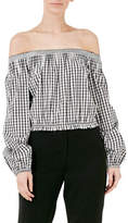 Nicholas Gingham Pintuck Off Shoulder Top