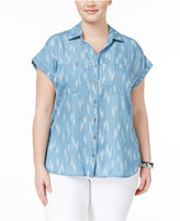 Style&Co. Style & Co Plus Size Ikat-Print Denim Shirt, Only at Macy's