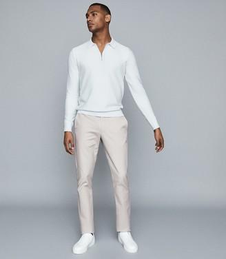 Reiss Matias - Textured Cotton Polo Shirt in Ice Grey