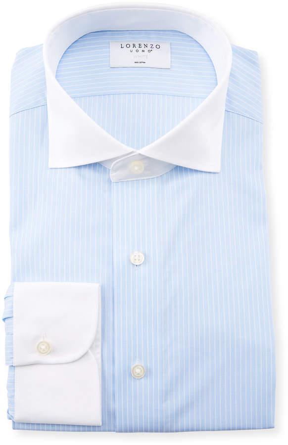 Lorenzo Uomo Men's Contrast-Collar Striped Dress Shirt