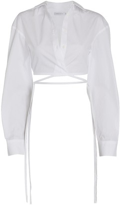 CHRISTOPHER ESBER Wrap Poplin Crop Top