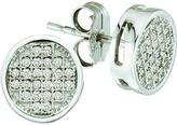 Ice Diamond Accented 10K White Gold Round Checkerboard Stud Earrings