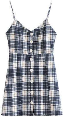 Goodnight Macaroon 'Lowie' Plaid Print Button Front Strap Dress