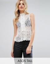 ASOS Tall ASOS TALL Top In Lace With Button Front And Peplum Hem