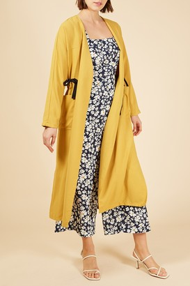 Frnch Contrast Drawstring Waist Open Front Duster