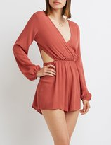 Charlotte Russe Surplice Cut-Out Romper
