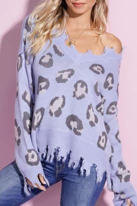 La Miel Leopard Distressed Vee Neck Sweater