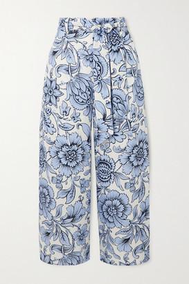 Erdem Everett Cropped Floral-print Linen Wide-leg Pants - Blue