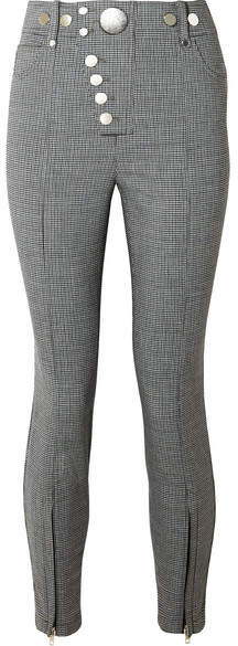 Alexander Wang Button-embellished Houndstooth Woven Skinny Pants - Gray