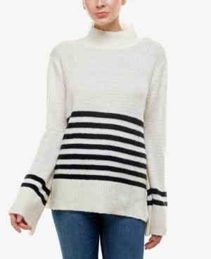 Q & A Striped Mock-Neck Sweater