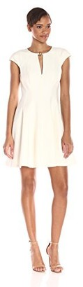 Halston Women's Cap-Sleeve Rounded Neck Dress with Hardware Details