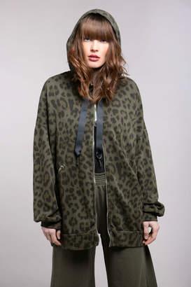 Baci Leopard Oversize Zip Up Hoody