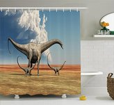 Dinosaur Shower Curtain Set by Ambesonne, Jurassic Decor Mother Diplodocus Dino Walking with Her Children Kids Babies Blue Sky Clouds Image, Fabric Bathroom Accessories with Hooks, Blue Beige Olive