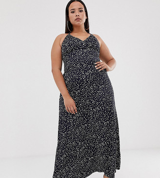 Club L Plus tie strap detail maxi dress in all over print