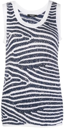 Balmain Sequin-Embellished Knitted Tank Top