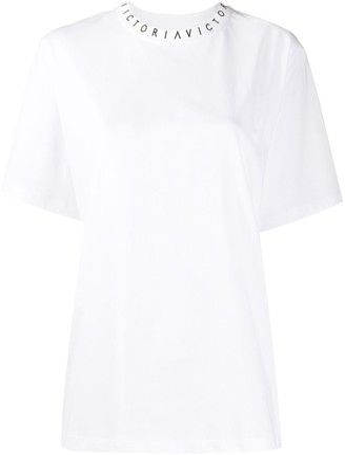 Victoria Victoria Beckham logo print boxy fit T-shirt