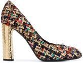 Casadei metallic heel tweed pumps