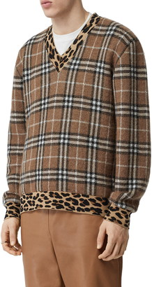 Burberry Leopard & Check Jacquard Sweater