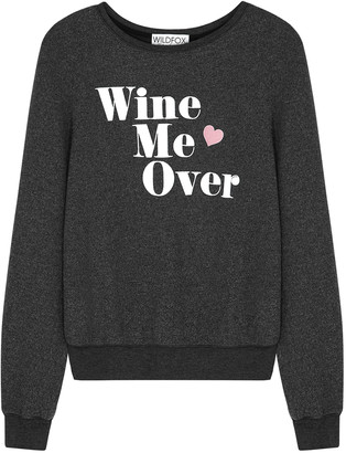 Wildfox Couture Wine Me Over grey brushed-jersey sweatshirt