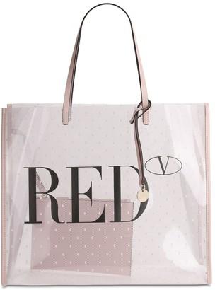 Red V Logo Printed Pvc Tote Bag