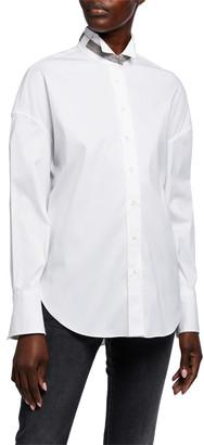 Brunello Cucinelli Monili-Collar Poplin Shirt