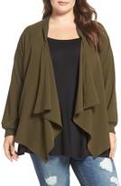 Bobeau Plus Size Women's Drape Front Bomber Jacket