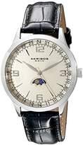 Akribos XXIV Men's AK637SSW Retro Swiss Champagne Dial Stainless Steel Black Leather Strap Watch