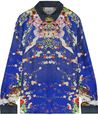 Camilla The Lonely Wild Crystal-embellished Printed Silk-twill Shirt