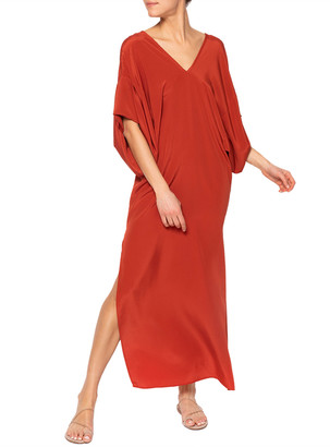 JALINE Beatriz Kimono-Sleeve Double V-Neck Silk Dress