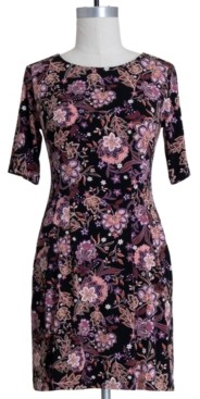Connected Petite Floral-Print Fit & Flare Dress